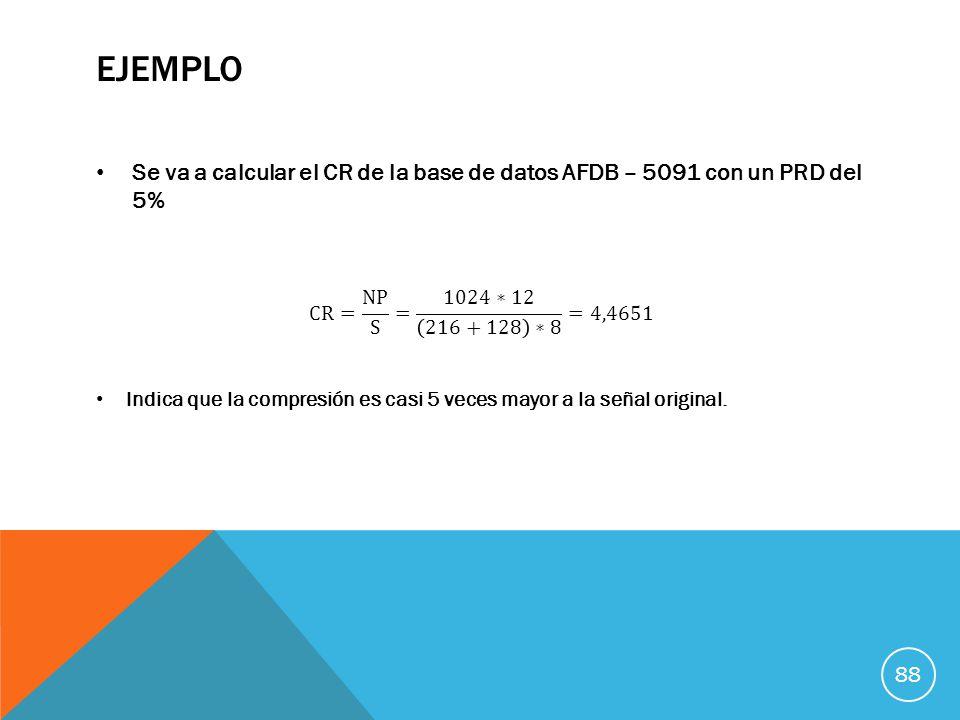 ejemplo Se va a calcular el CR de la base de datos AFDB – 5091 con un PRD del 5% CR= NP S = 1024∗12 216+128 ∗8 =4,4651.