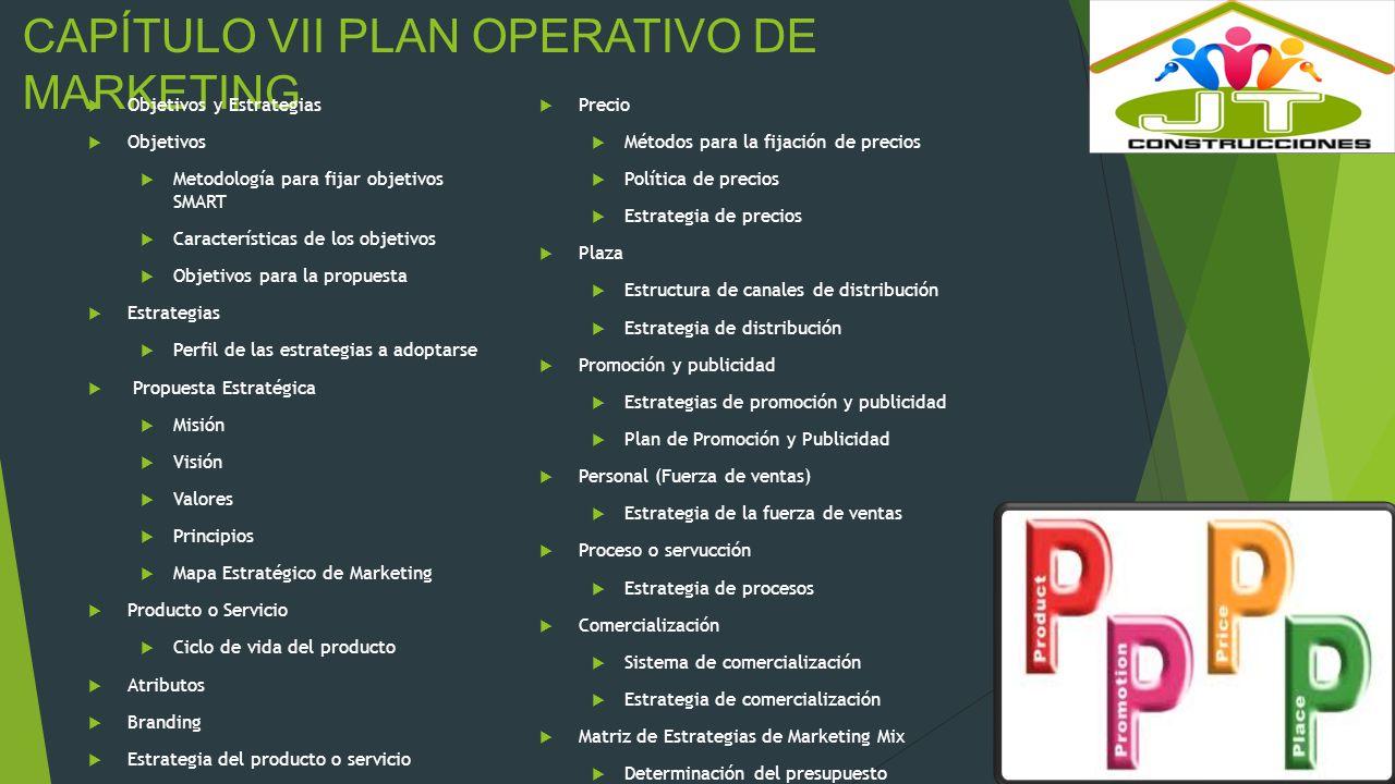 CAPÍTULO VII PLAN OPERATIVO DE MARKETING