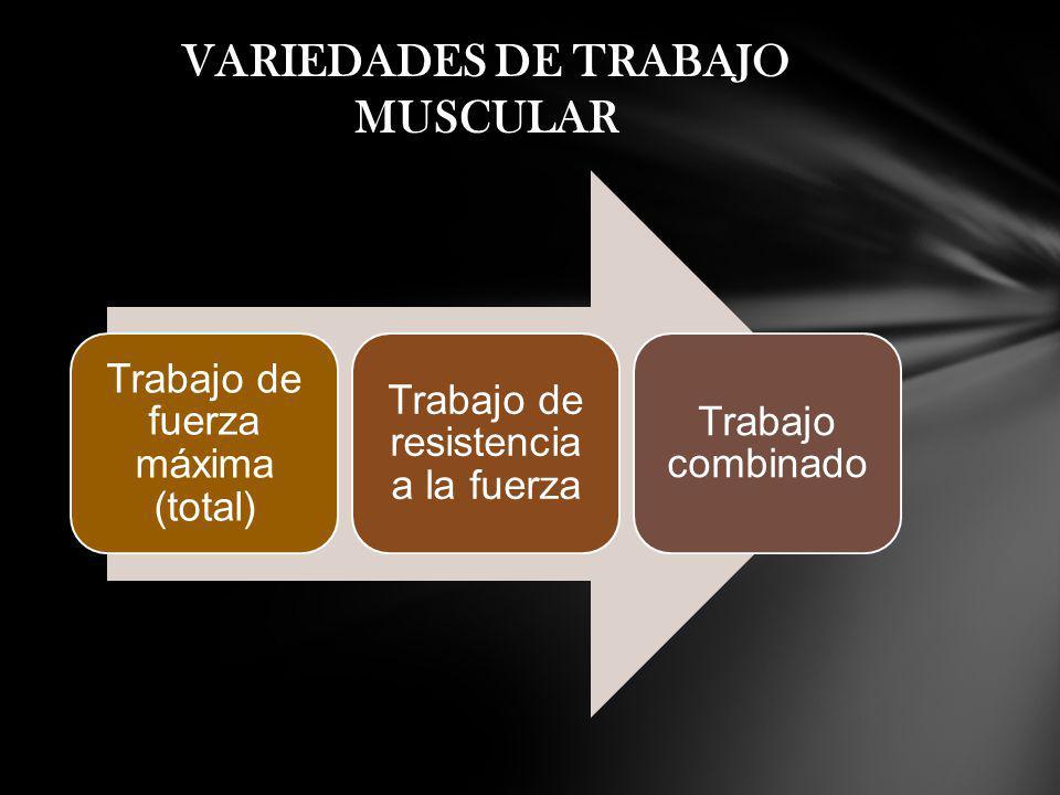 VARIEDADES DE TRABAJO MUSCULAR