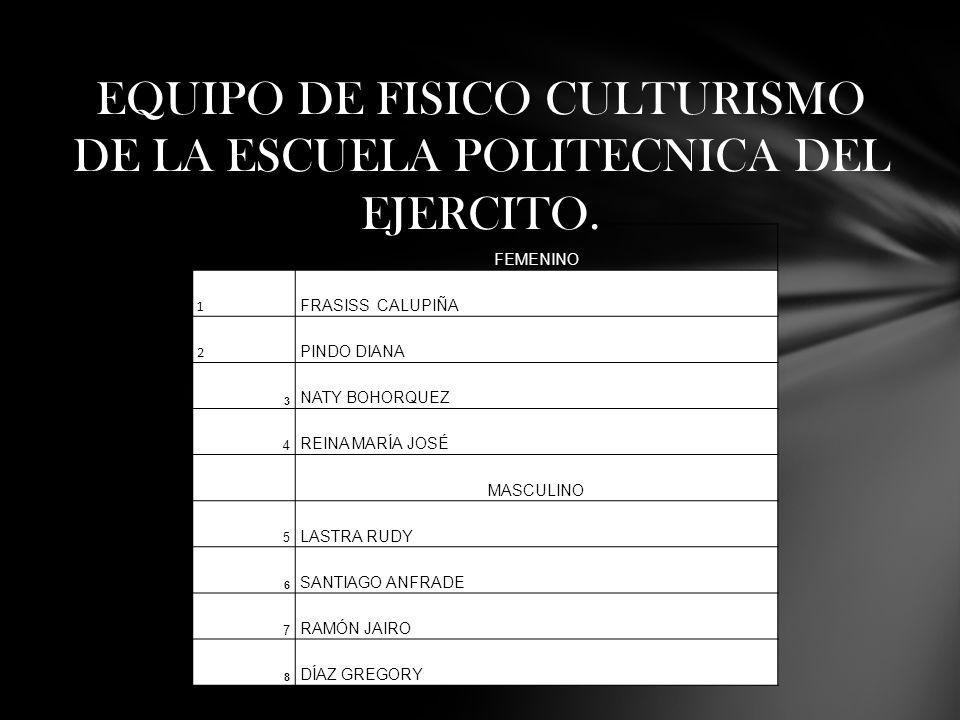 EQUIPO DE FISICO CULTURISMO DE LA ESCUELA POLITECNICA DEL EJERCITO.