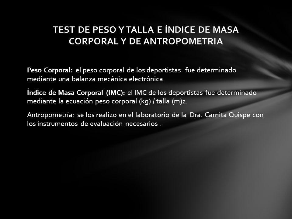TEST DE PESO Y TALLA E ÍNDICE DE MASA CORPORAL Y DE ANTROPOMETRIA