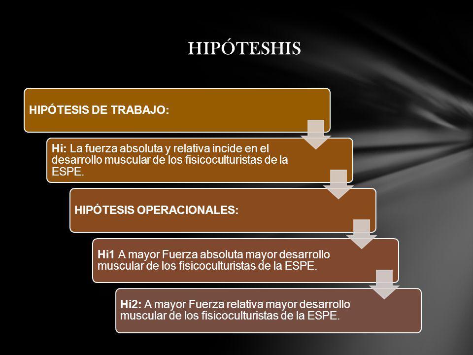 HIPÓTESHIS HIPÓTESIS DE TRABAJO: