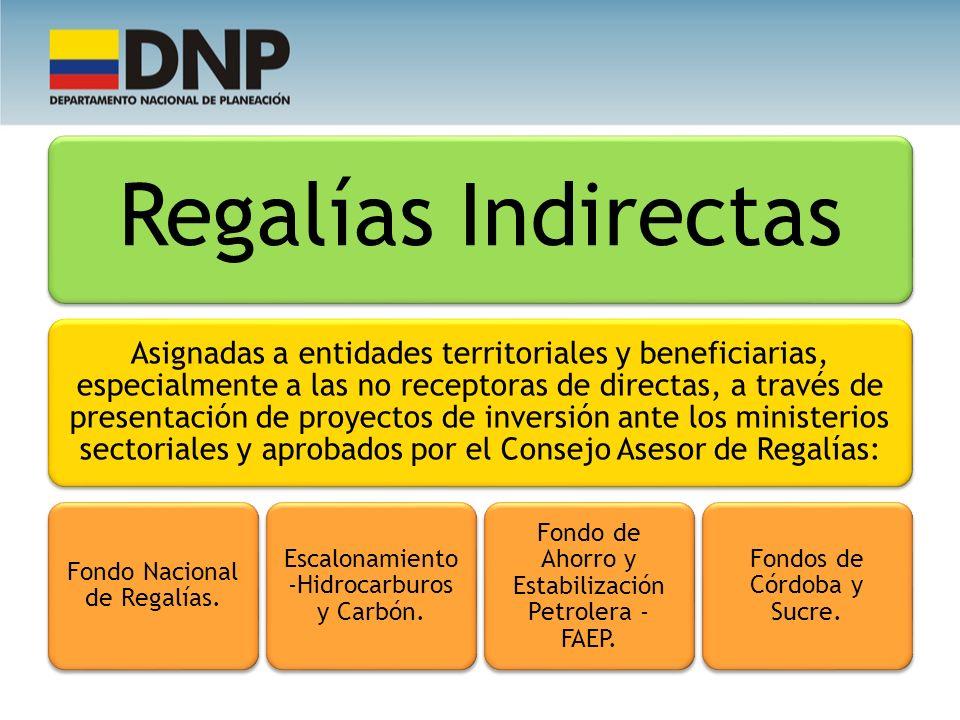 Fondo Nacional de Regalías. Escalonamiento -Hidrocarburos y Carbón.