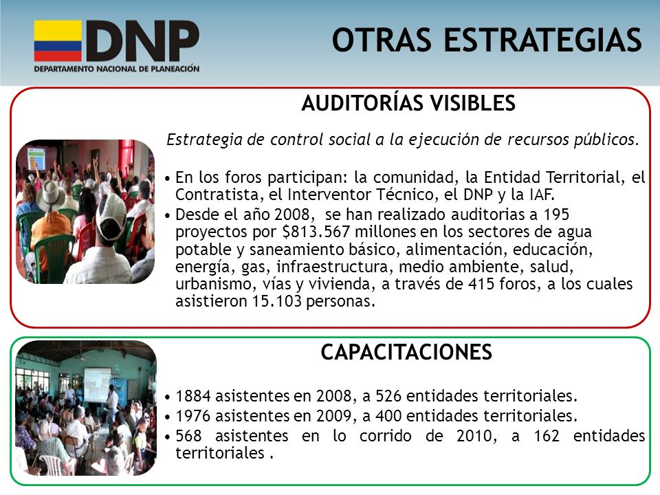 OTRAS ESTRATEGIAS AUDITORÍAS VISIBLES Estrategia de control social a la ejecución de recursos públicos.