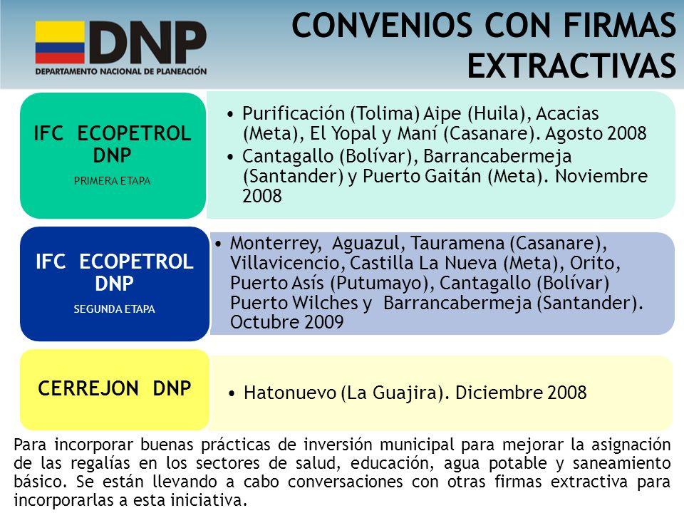 CONVENIOS CON FIRMAS EXTRACTIVAS IFC ECOPETROL DNP CERREJON DNP