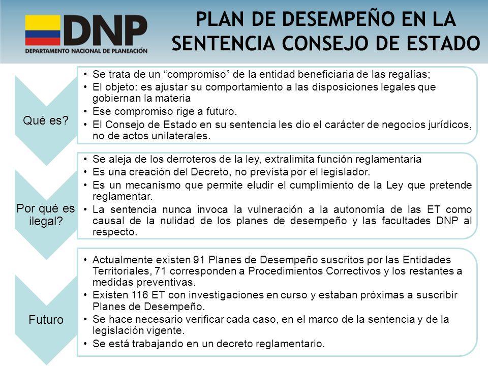 PLAN DE DESEMPEÑO EN LA SENTENCIA CONSEJO DE ESTADO
