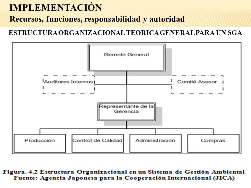 ESTRUCTURA ORGANIZACIONAL TEORICA GENERAL PARA UN SGA