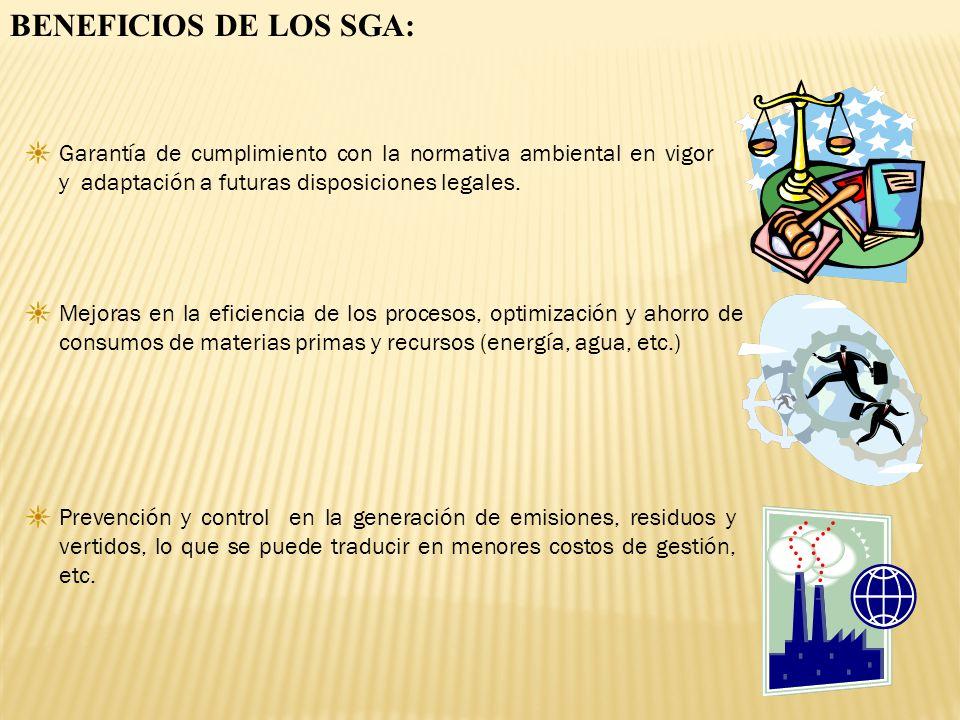 BENEFICIOS DE LOS SGA: Garantía de cumplimiento con la normativa ambiental en vigor y adaptación a futuras disposiciones legales.