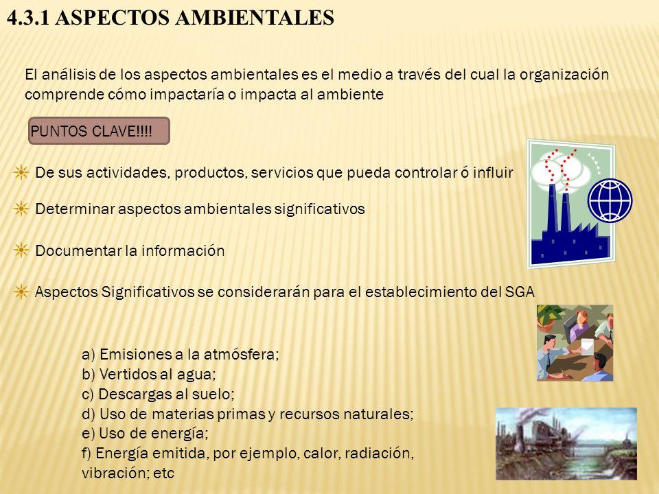 4.3.1 ASPECTOS AMBIENTALES
