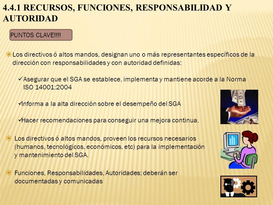 4.4.1 RECURSOS, FUNCIONES, RESPONSABILIDAD Y AUTORIDAD