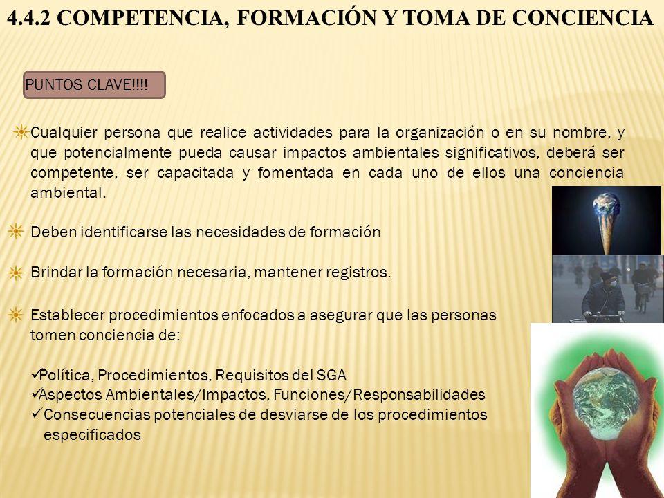 4.4.2 COMPETENCIA, FORMACIÓN Y TOMA DE CONCIENCIA