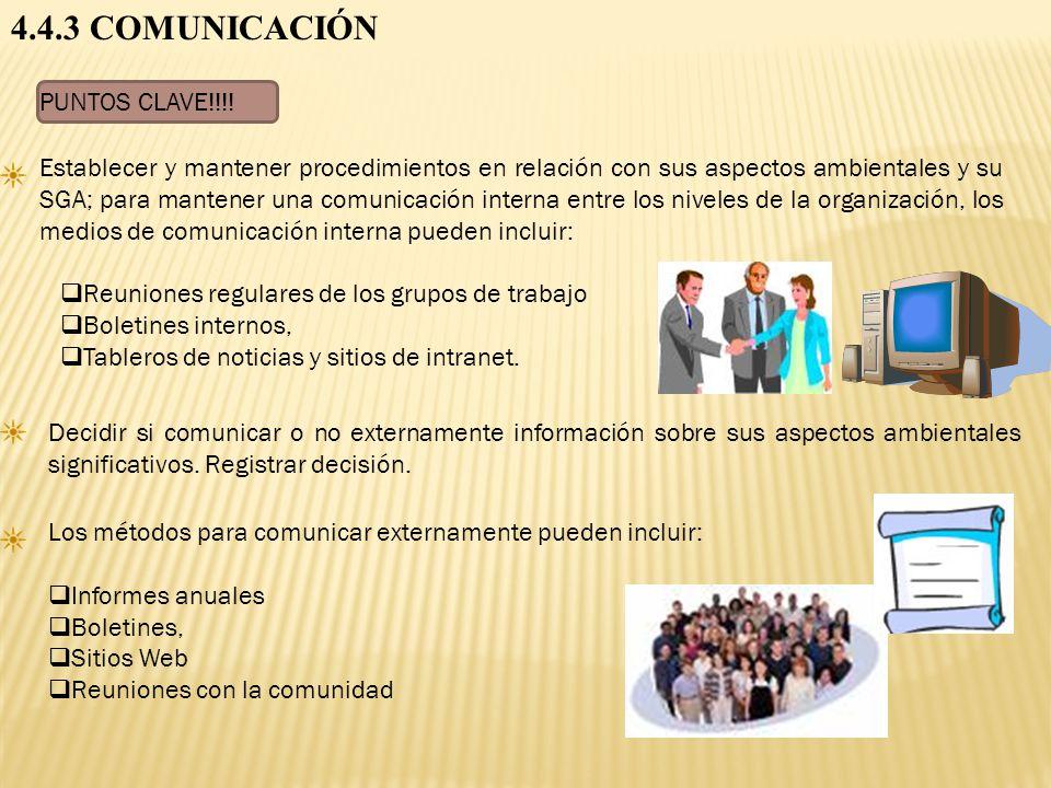4.4.3 COMUNICACIÓN PUNTOS CLAVE!!!!