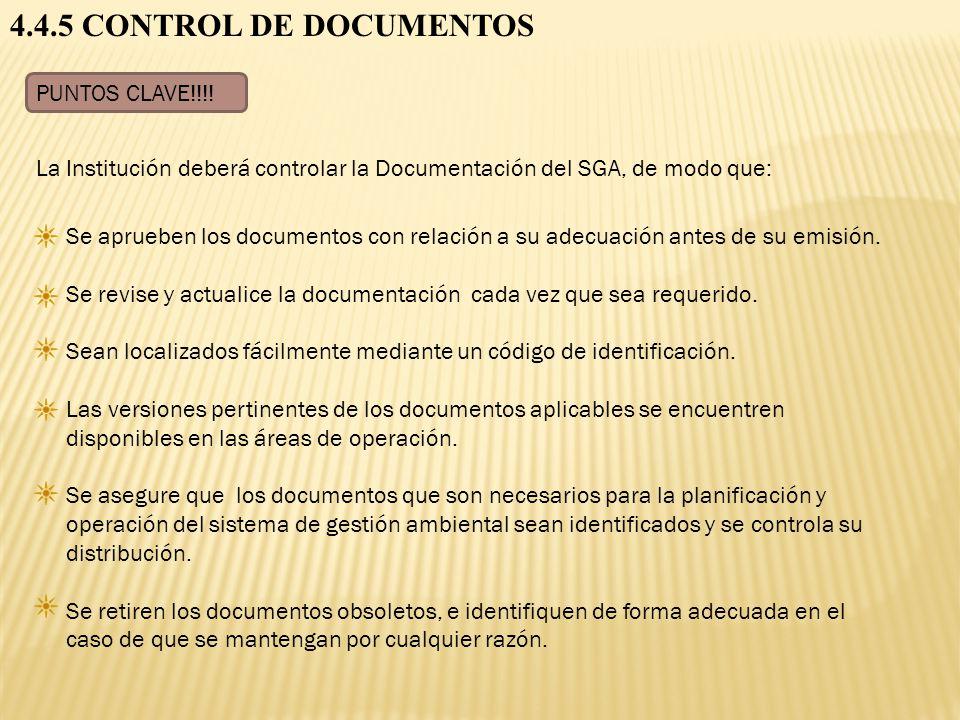 4.4.5 CONTROL DE DOCUMENTOS PUNTOS CLAVE!!!!