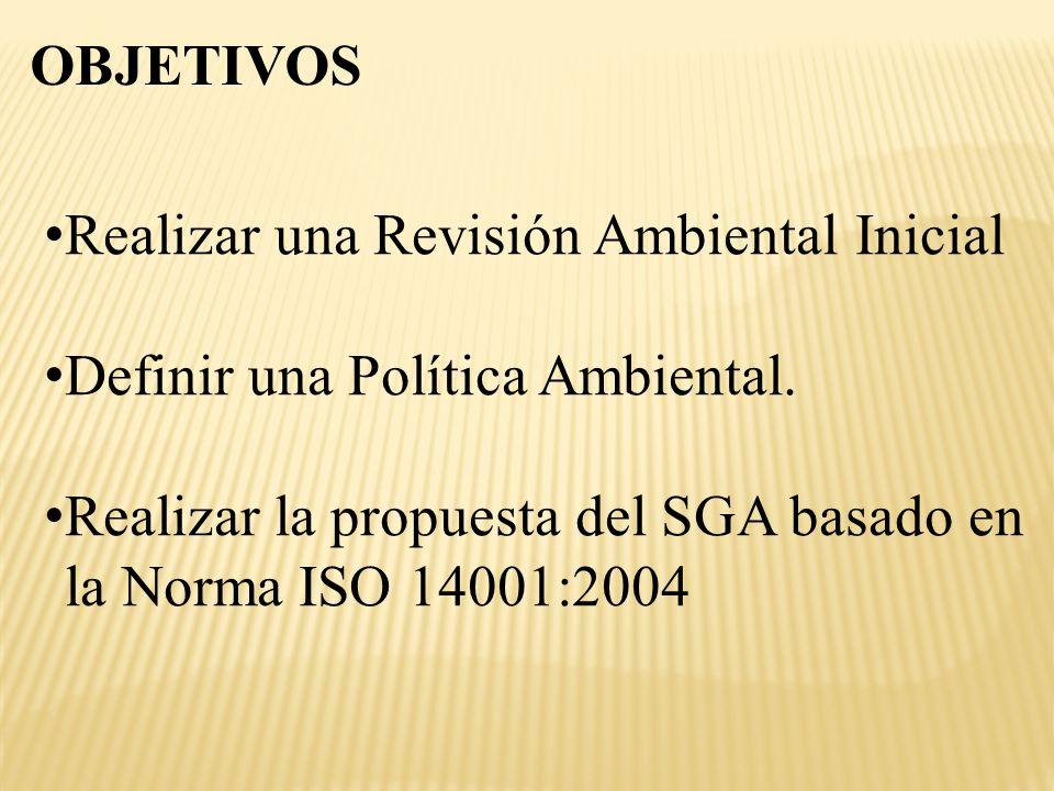 OBJETIVOS Realizar una Revisión Ambiental Inicial.