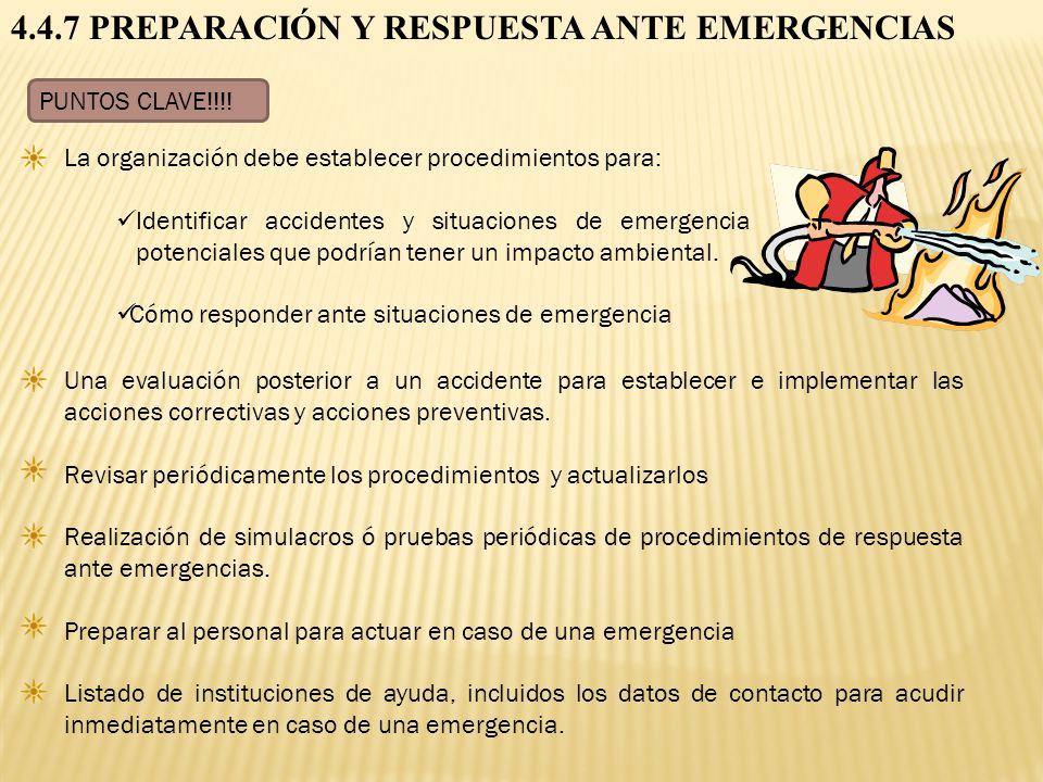 4.4.7 PREPARACIÓN Y RESPUESTA ANTE EMERGENCIAS