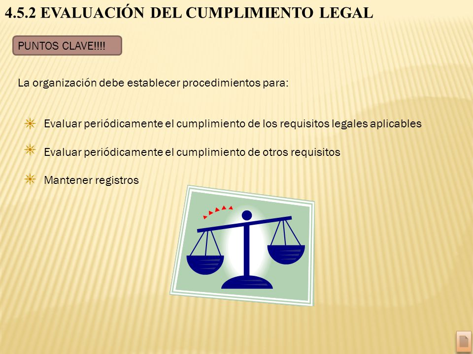 4.5.2 EVALUACIÓN DEL CUMPLIMIENTO LEGAL
