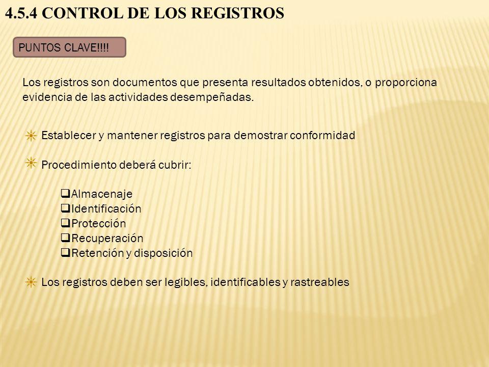4.5.4 CONTROL DE LOS REGISTROS