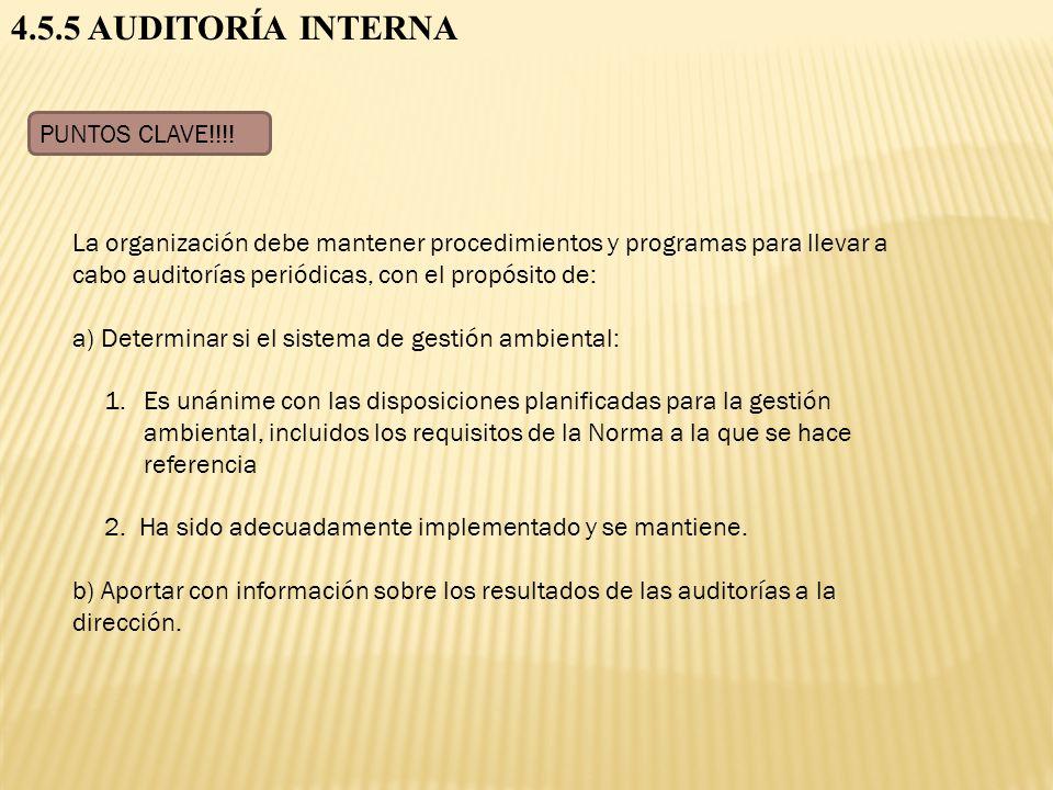 4.5.5 AUDITORÍA INTERNA PUNTOS CLAVE!!!!