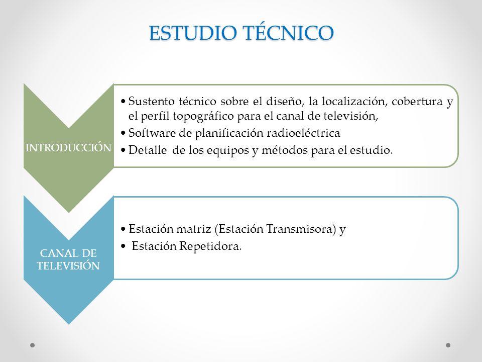 ESTUDIO TÉCNICO INTRODUCCIÓN. Sustento técnico sobre el diseño, la localización, cobertura y el perfil topográfico para el canal de televisión,