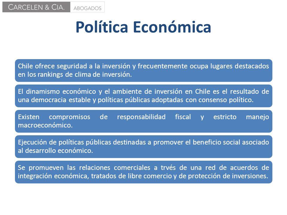 Política Económica Chile ofrece seguridad a la inversión y frecuentemente ocupa lugares destacados en los rankings de clima de inversión.