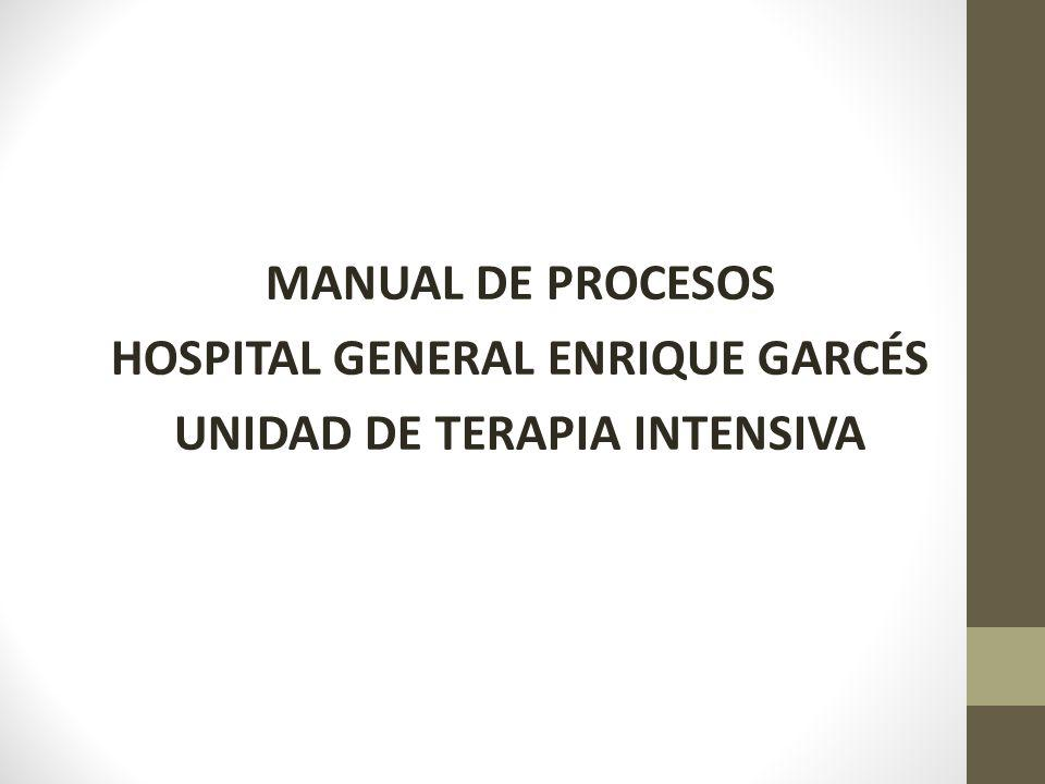 MANUAL DE PROCESOS HOSPITAL GENERAL ENRIQUE GARCÉS UNIDAD DE TERAPIA INTENSIVA