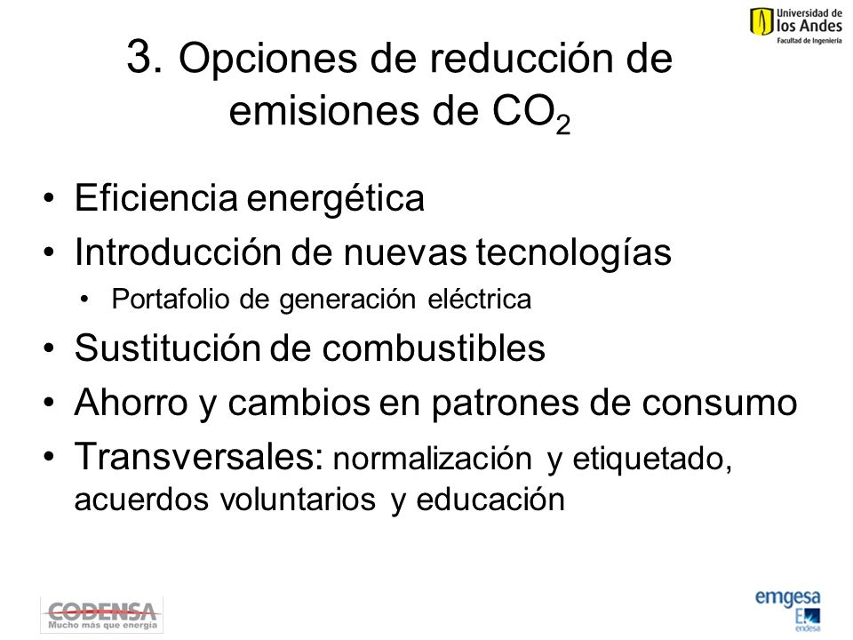 3. Opciones de reducción de emisiones de CO2