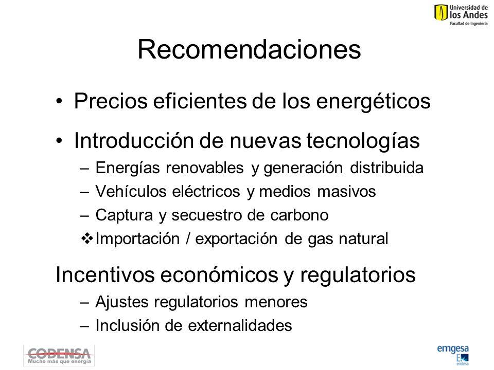 Recomendaciones Precios eficientes de los energéticos