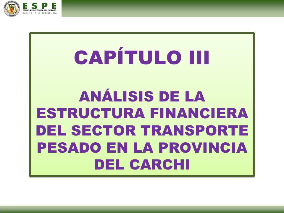 CAPÍTULO III ANÁLISIS DE LA ESTRUCTURA FINANCIERA DEL SECTOR TRANSPORTE PESADO EN LA PROVINCIA DEL CARCHI.