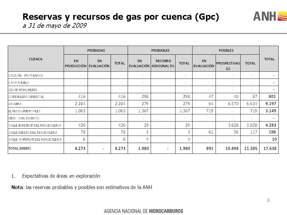 Reservas y recursos de gas por cuenca (Gpc)