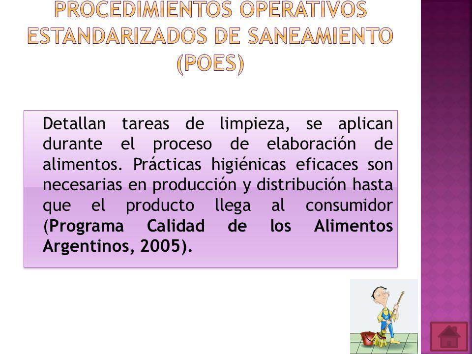 Procedimientos Operativos Estandarizados de Saneamiento (POES)