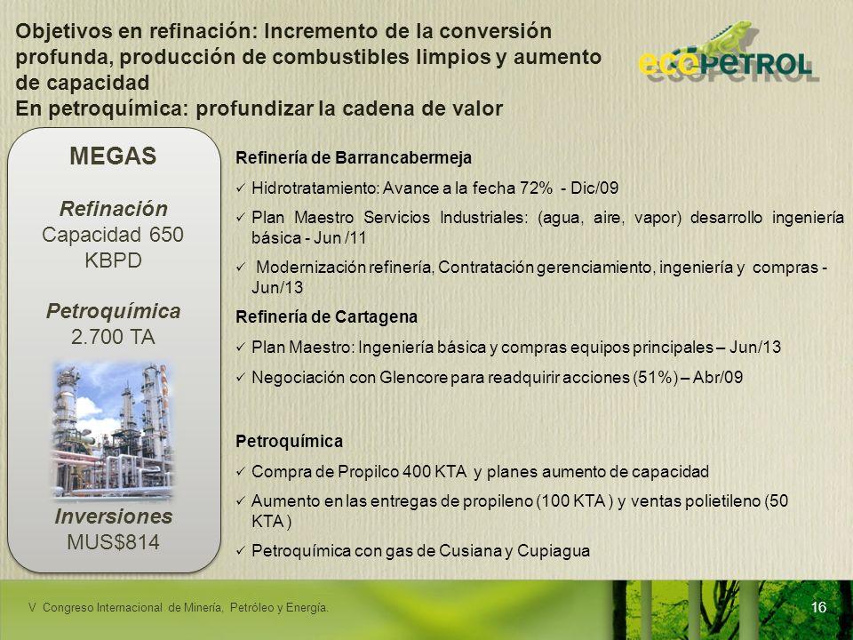 Objetivos en refinación: Incremento de la conversión profunda, producción de combustibles limpios y aumento de capacidad