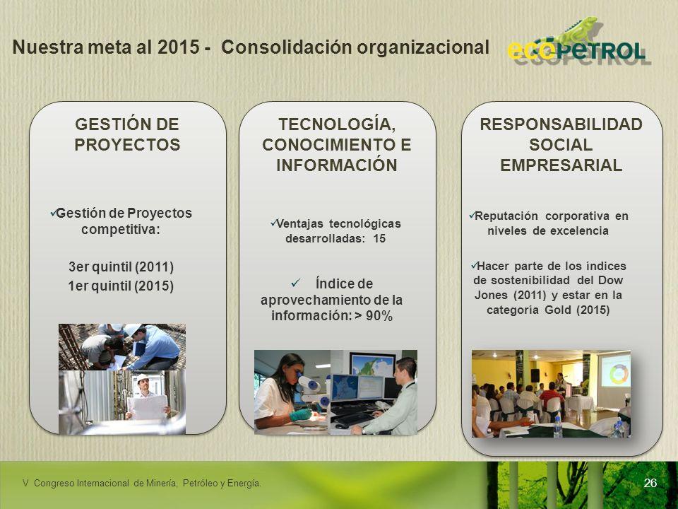 Nuestra meta al 2015 - Consolidación organizacional