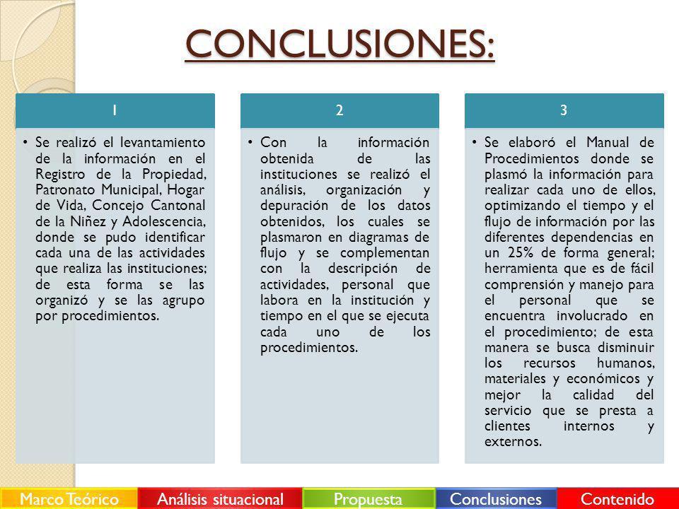 CONCLUSIONES: Marco Teórico Análisis situacional Propuesta