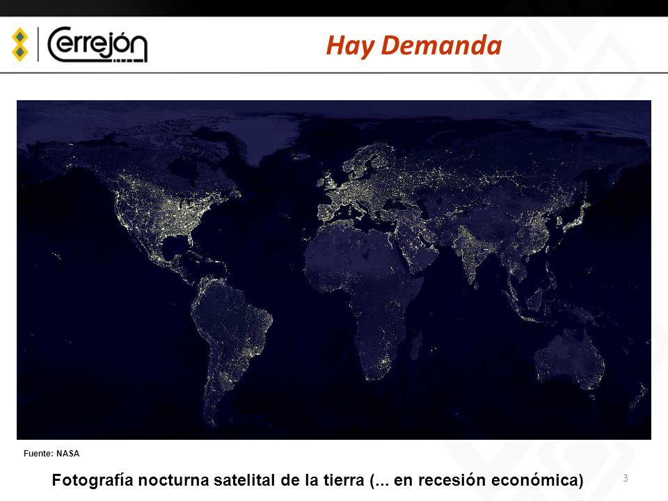 Hay Demanda Fuente: NASA Fotografía nocturna satelital de la tierra (... en recesión económica)
