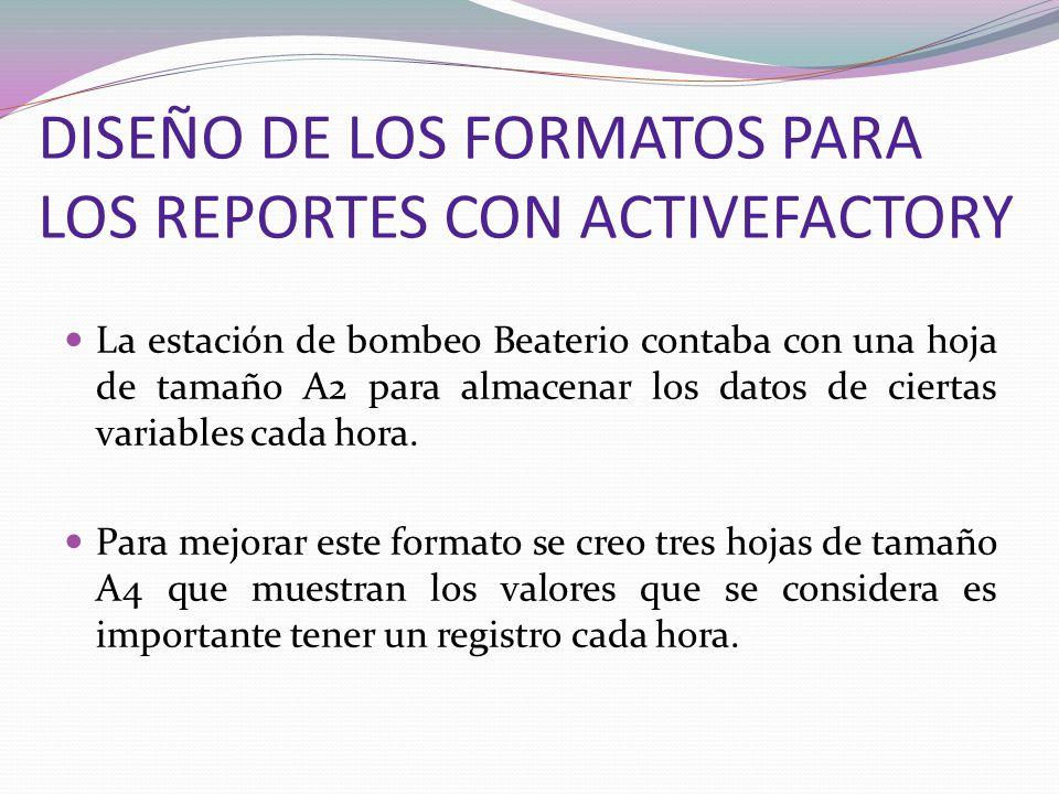 DISEÑO DE LOS FORMATOS PARA LOS REPORTES CON ACTIVEFACTORY