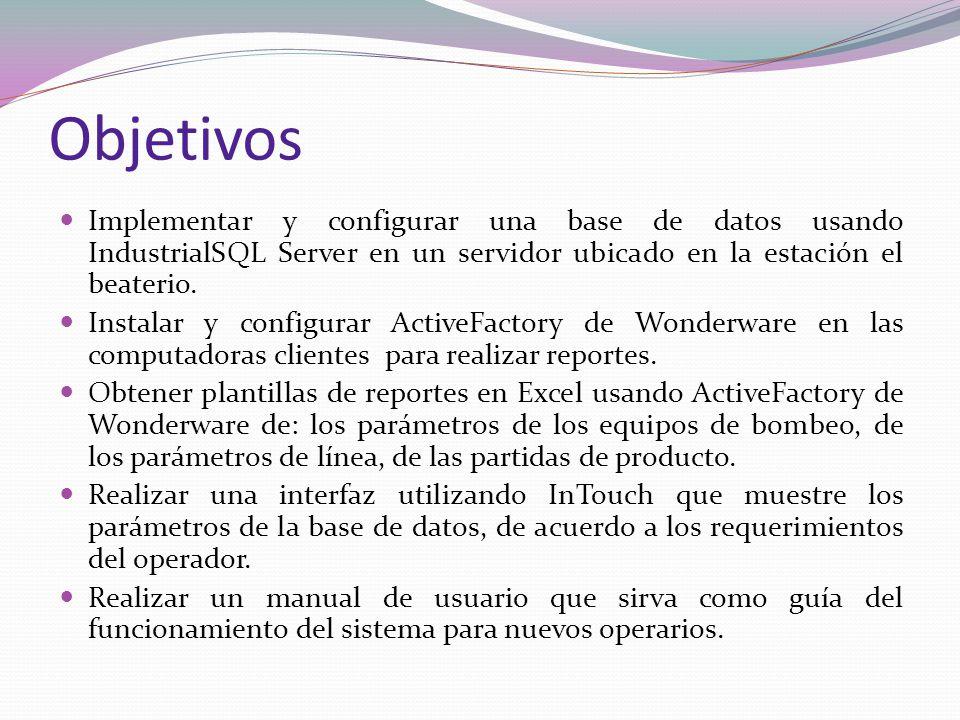 Objetivos Implementar y configurar una base de datos usando IndustrialSQL Server en un servidor ubicado en la estación el beaterio.