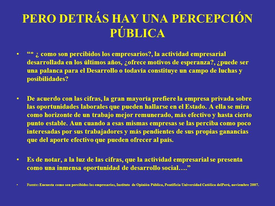 PERO DETRÁS HAY UNA PERCEPCIÓN PÚBLICA