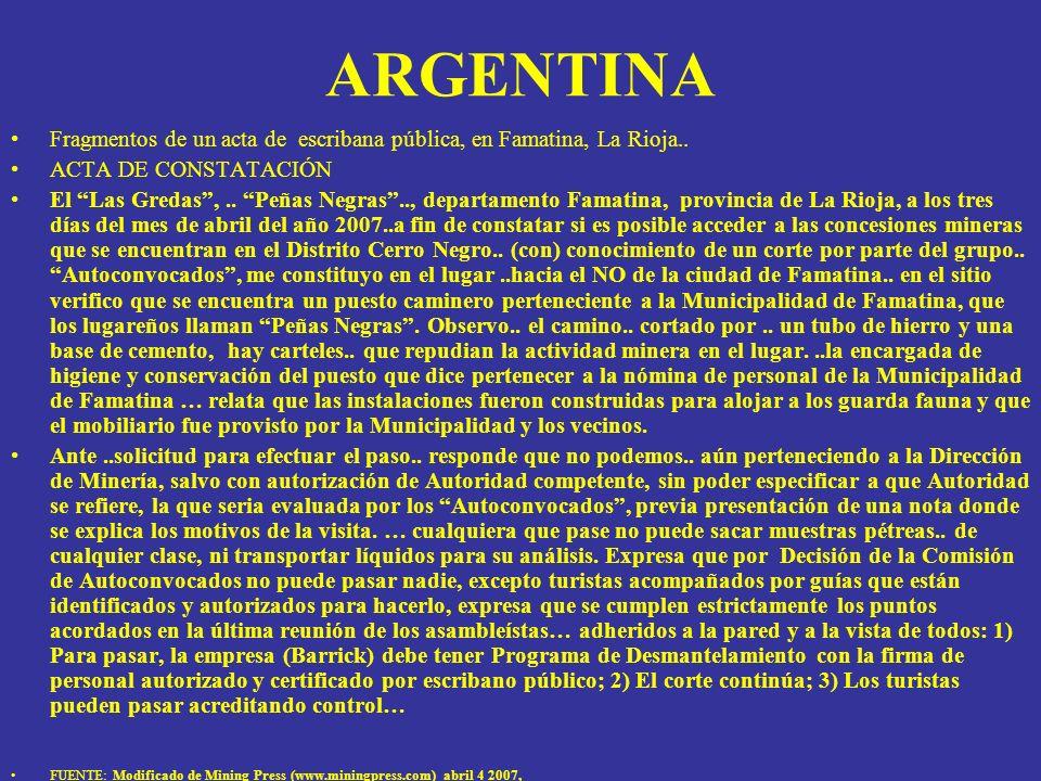 ARGENTINAFragmentos de un acta de escribana pública, en Famatina, La Rioja.. ACTA DE CONSTATACIÓN.