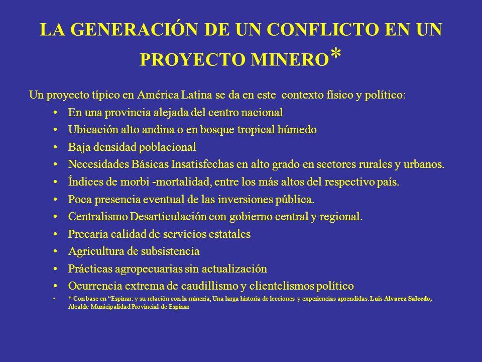 LA GENERACIÓN DE UN CONFLICTO EN UN PROYECTO MINERO*