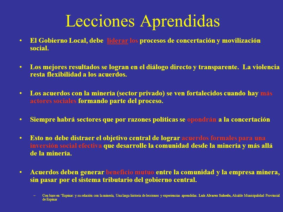 Lecciones Aprendidas El Gobierno Local, debe liderar los procesos de concertación y movilización social.