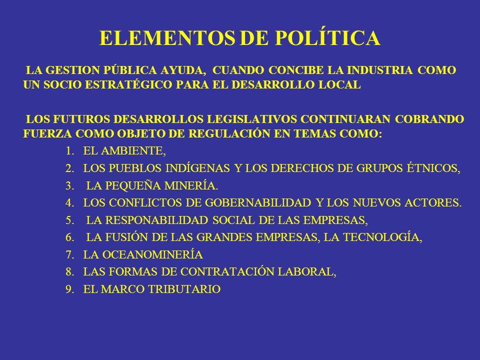 ELEMENTOS DE POLÍTICA LA GESTION PÚBLICA AYUDA, CUANDO CONCIBE LA INDUSTRIA COMO UN SOCIO ESTRATÉGICO PARA EL DESARROLLO LOCAL.
