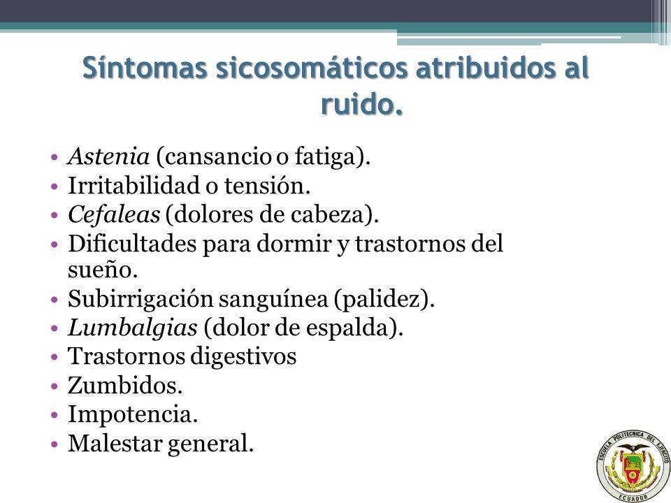 Síntomas sicosomáticos atribuidos al ruido.