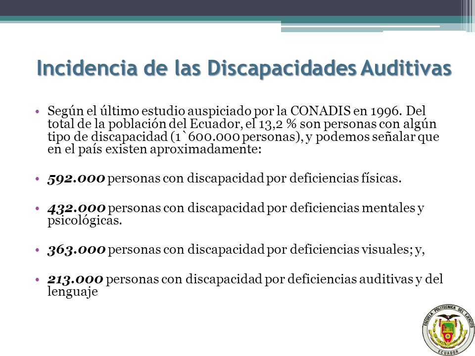 Incidencia de las Discapacidades Auditivas