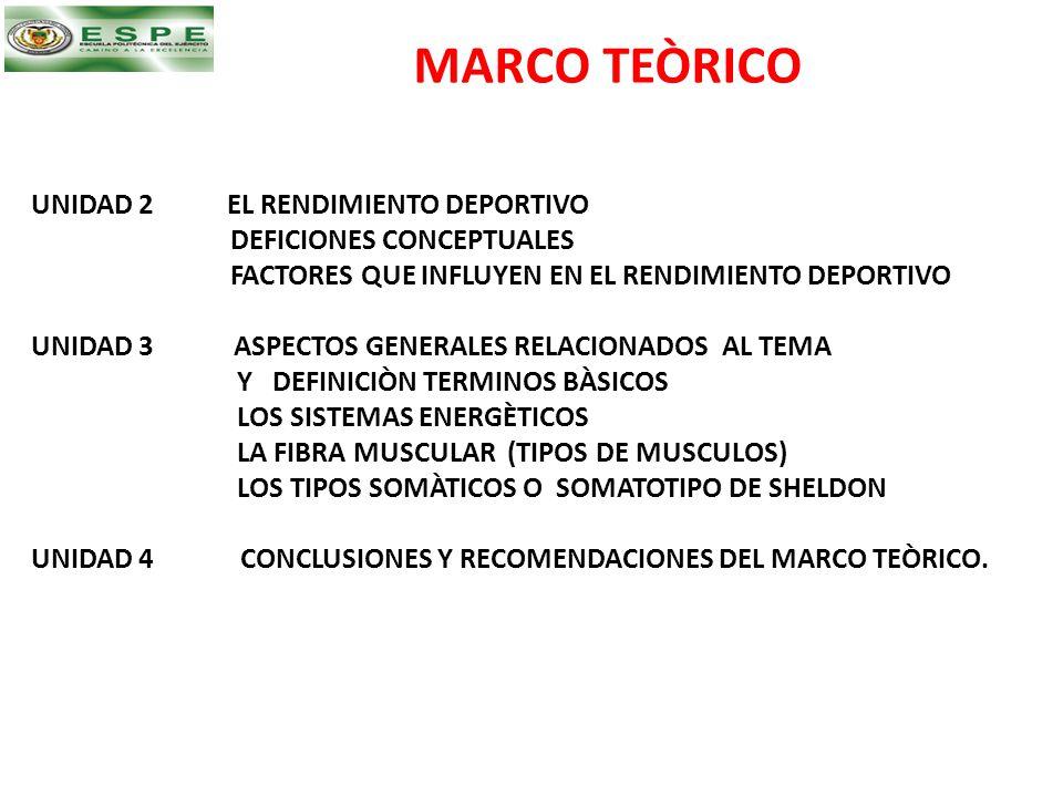MARCO TEÒRICO UNIDAD 2 EL RENDIMIENTO DEPORTIVO