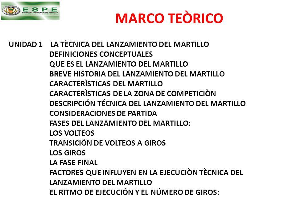 MARCO TEÒRICO UNIDAD 1 LA TÈCNICA DEL LANZAMIENTO DEL MARTILLO