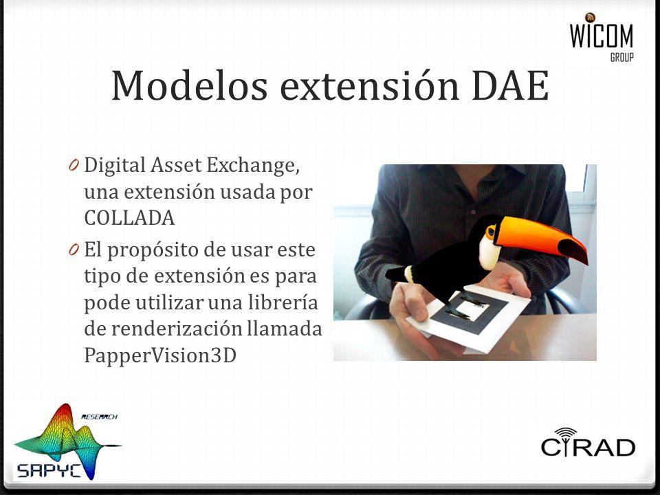 Modelos extensión DAE Digital Asset Exchange, una extensión usada por COLLADA.