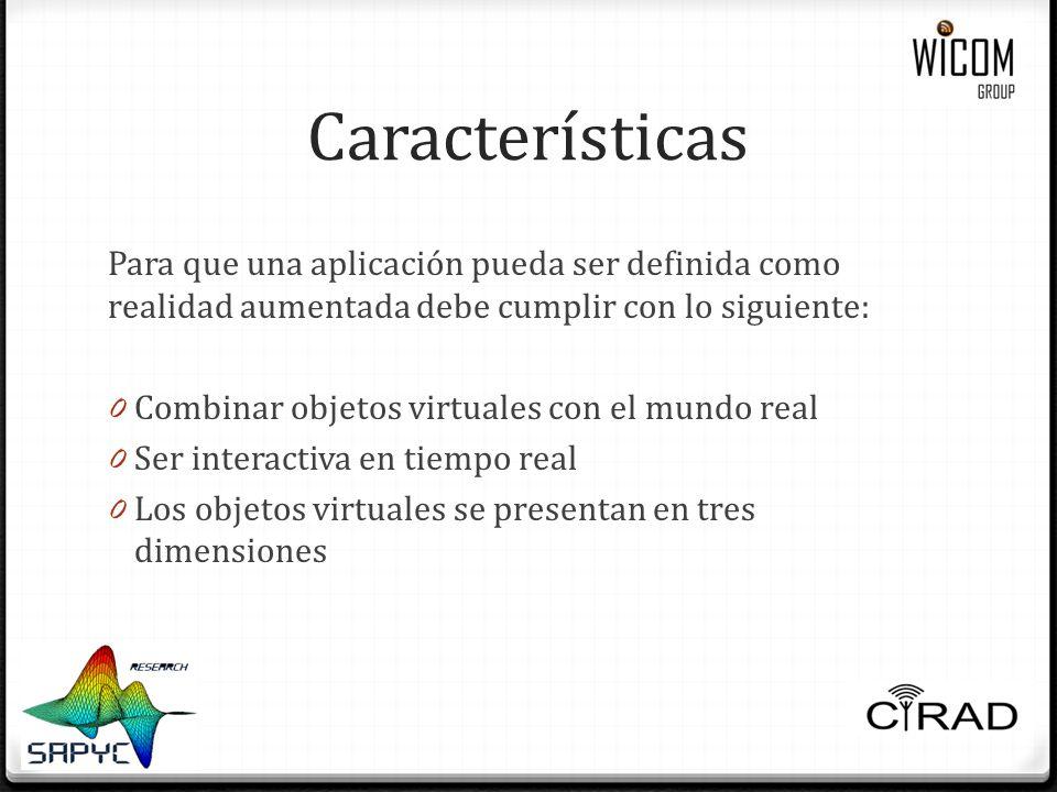 Características Para que una aplicación pueda ser definida como realidad aumentada debe cumplir con lo siguiente: