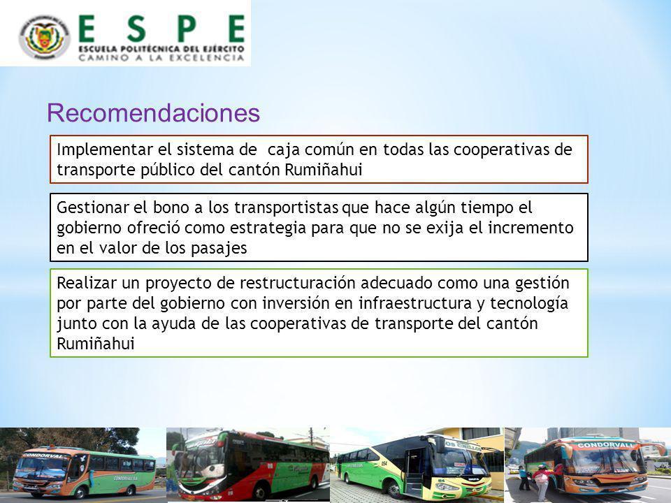 Recomendaciones Implementar el sistema de caja común en todas las cooperativas de transporte público del cantón Rumiñahui.