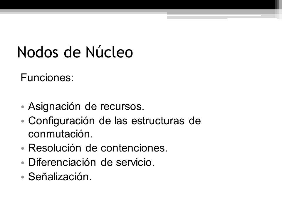 Nodos de Núcleo Funciones: Asignación de recursos.