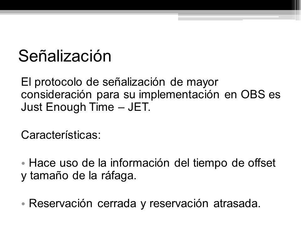 Señalización El protocolo de señalización de mayor consideración para su implementación en OBS es Just Enough Time – JET.
